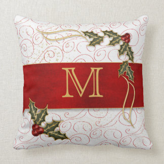 Monogrammed Joyous and Jolly Berries and Holly Throw Pillow
