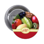 Monogrammed Juicy Natural Delicious Fresh Fruits Pin