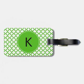 Monogrammed Kelly Green Quatrefoil Pattern Bag Tag
