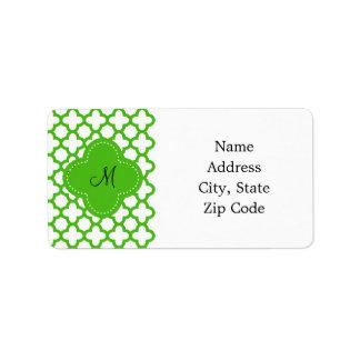 Monogrammed Kelly Green Quatrefoil Pattern Label