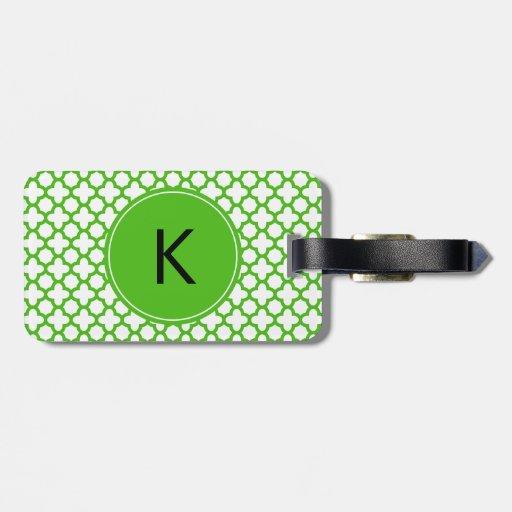 Monogrammed Kelly Green Quatrefoil Pattern Travel Bag Tags