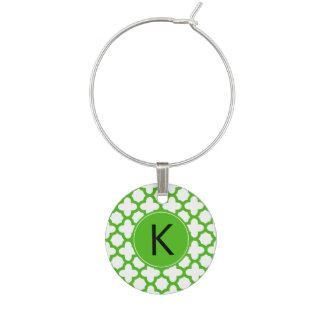 Monogrammed Kelly Green Quatrefoil Pattern Wine Glass Charms