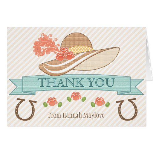 MONOGRAMMED KENTUCKY DERBY THEMED THANK YOU GREETING CARD