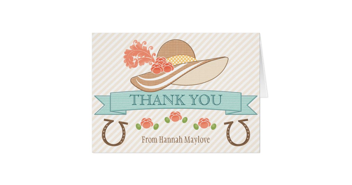 monogrammed kentucky derby themed thank you card