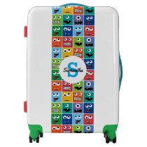 Monogrammed Kids Monster Face Pattern Colorful Fun Luggage