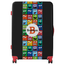 Monogrammed Kids Monster Face Pattern Colorful Luggage