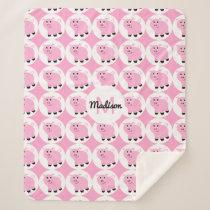 Monogrammed Kids Pink Pig Pattern Animal Pigs Sherpa Blanket