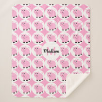 Monogrammed Kids Pink Pig Pattern Animal Pigs Sherpa Blanket