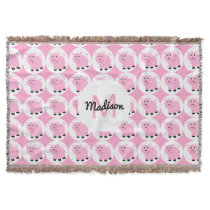 Monogrammed Kids Pink Pig Pattern Animal Throw Blanket