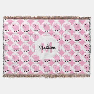 Monogrammed Kids Pink Pig Pattern Animal Throw Blanket