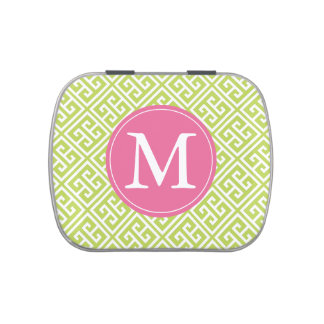 Monogrammed Kiwi Green Pink Greek Key Pattern Candy Tins
