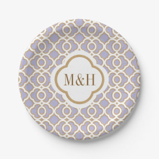 Monogrammed Lavender and Gold Moroccan Wedding Paper Plate