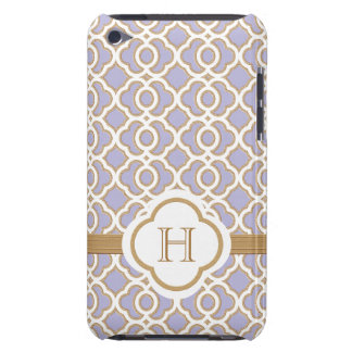 Monogrammed Lavender Gold Moroccan iPod Touch Cases
