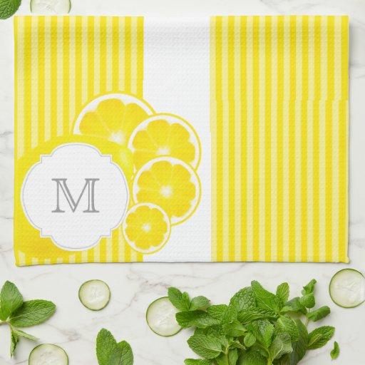 Monogrammed Lemons Hand Towel