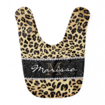 Monogrammed Leopard Diamond Animal Print Girl's Baby Bib