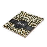 Monogrammed leopard print ceramic tile