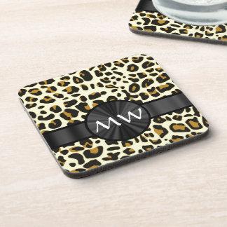 Monogrammed leopard print coaster