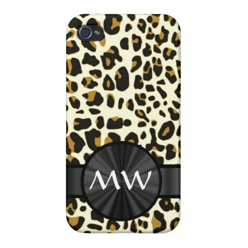 Monogrammed leopard print covers for iPhone 4