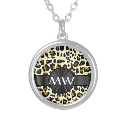 Monogrammed leopard print necklace