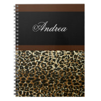 Monogrammed Leopard print notebook