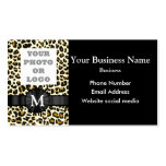 Monogrammed leopard print pattern business card