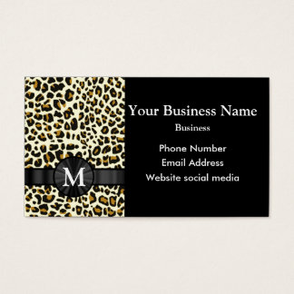 Monogrammed leopard print pattern business card