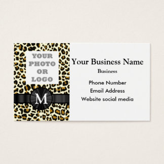 Monogrammed leopard print pattern company logo business card