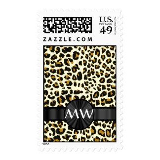 Monogrammed leopard print postage stamps