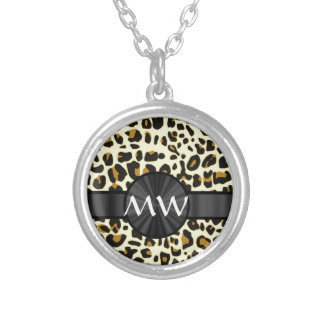 Monogrammed leopard print silver plated necklace