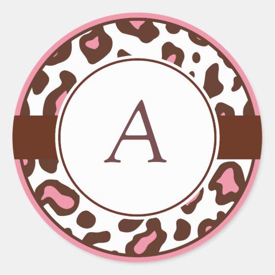 Monogrammed Leopard Print Stickers