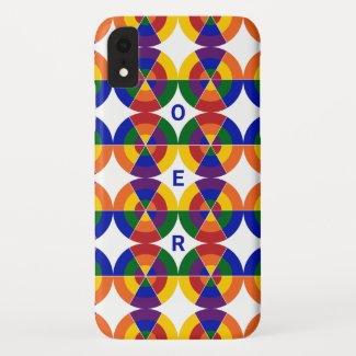 Monogrammed LGBT Pride Geometric Rainbow Pattern Case-Mate iPhone Case