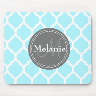 Monogrammed Light Blue Grey Mouse Pad