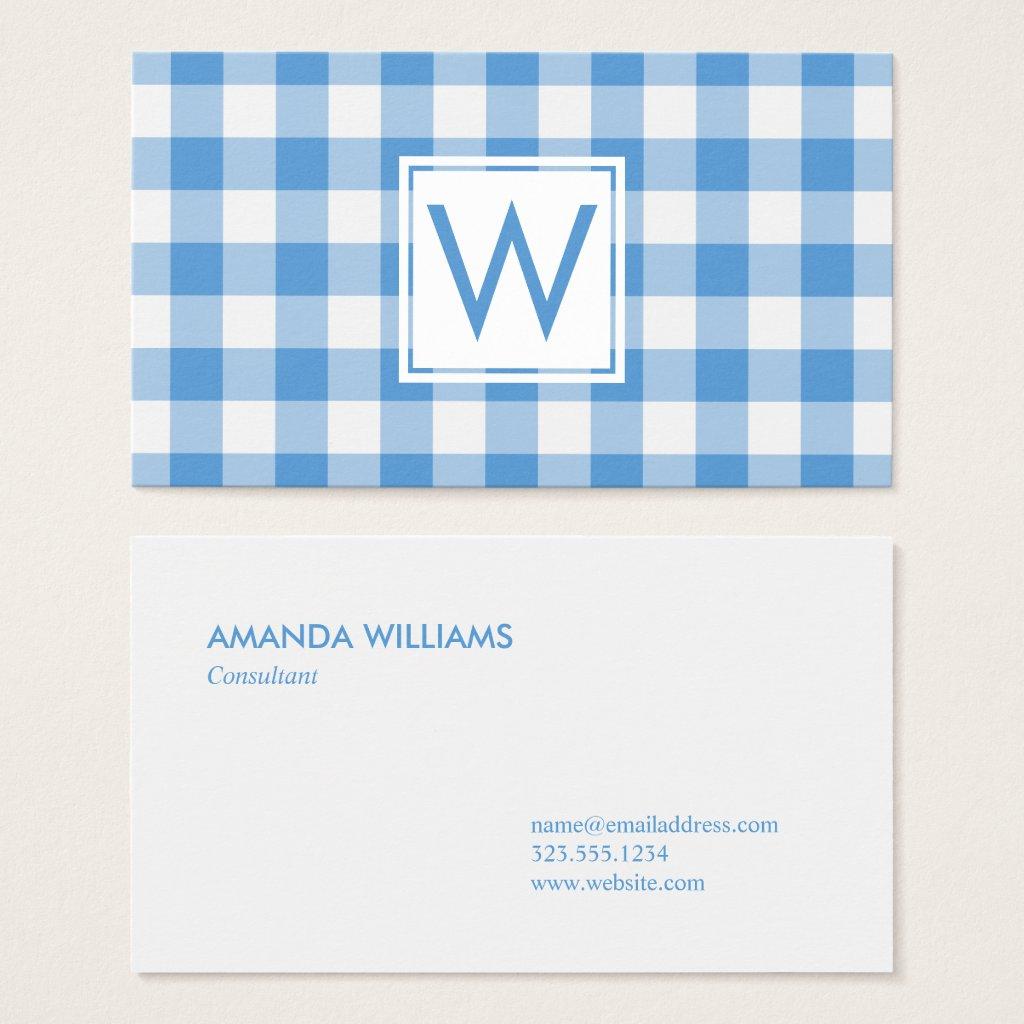 Monogrammed Light Blue White Gingham Plaid Pattern Business Card