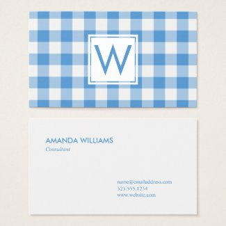 Monogrammed Light Blue White Gingham Plaid Pattern Business Card
