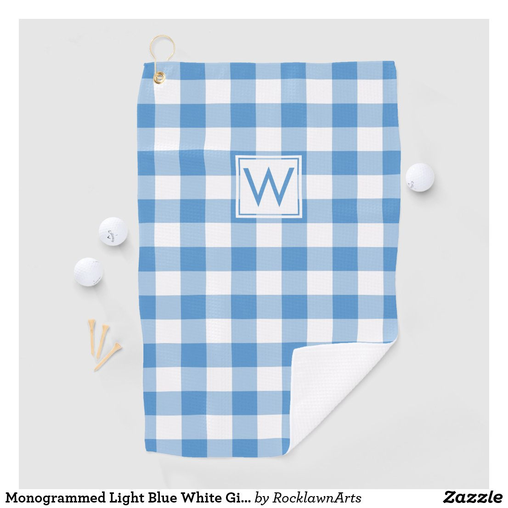 Monogrammed Light Blue White Gingham Plaid Pattern Golf Towel