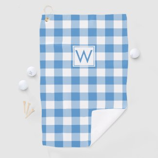 Monogrammed Light Blue White Gingham Plaid Pattern Golf Towel