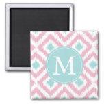 Monogrammed Light Pink Mint Diamonds Ikat Pattern Magnet