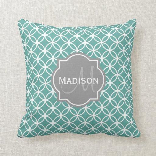 Monogrammed Light Teal Circle Pattern Throw Pillows