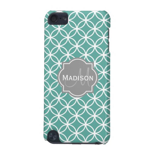 Monogrammed Light Teal Circles Pattern iPod Touch (5th Generation) Cover