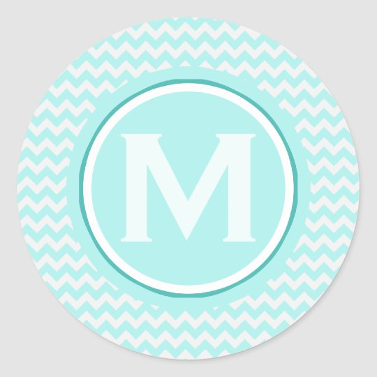 Monogrammed Light Turquoise Zigzag Pattern Classic Round Sticker
