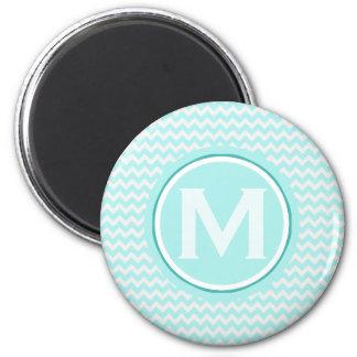 Monogrammed Light Turquoise Zigzag Pattern Magnet