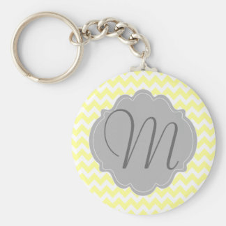 Monogrammed Light Yellow and Gray Chevron Pattern Basic Round Button Keychain