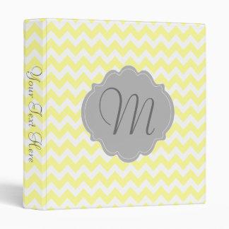 Monogrammed Light Yellow and Gray Chevron Pattern Vinyl Binder