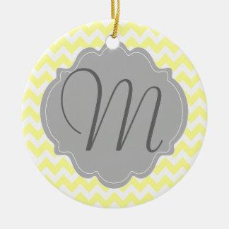 Monogrammed Light Yellow and Gray Chevron Pattern Ceramic Ornament