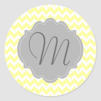 Monogrammed Light Yellow and Gray Chevron Pattern Classic Round Sticker