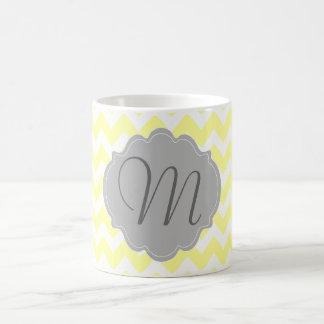Monogrammed Light Yellow and Gray Chevron Pattern Coffee Mug