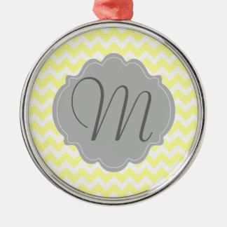 Monogrammed Light Yellow and Gray Chevron Pattern Metal Ornament
