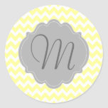 Monogrammed Light Yellow and Gray Chevron Pattern Classic Round Sticker
