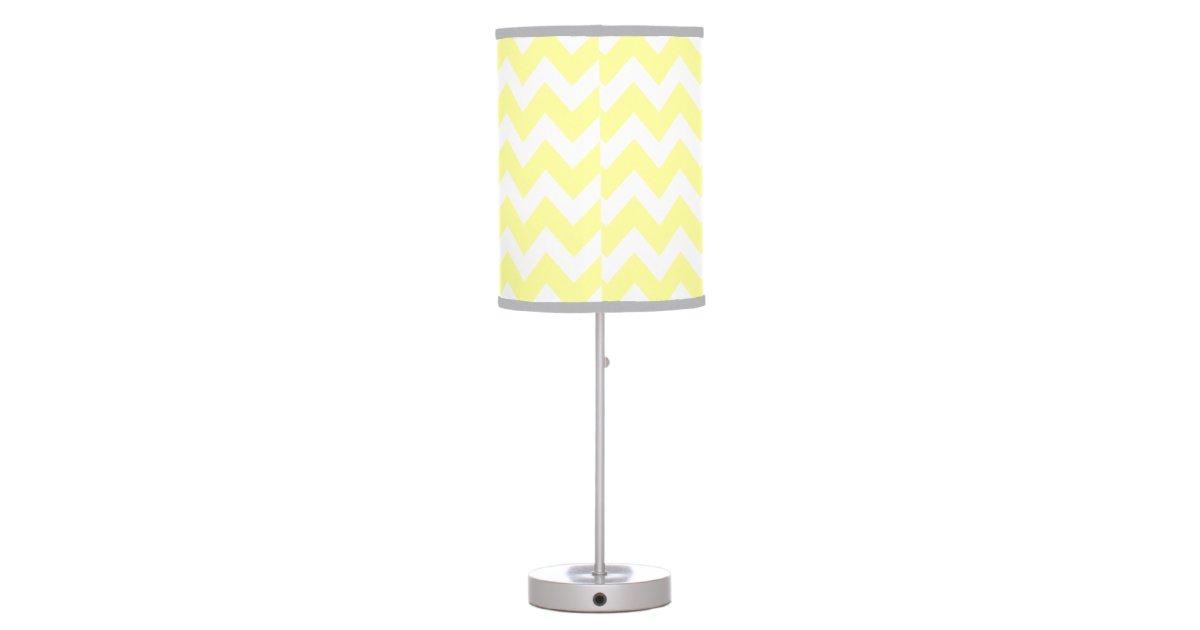 Monogrammed Light Yellow and Gray Chevron Pattern Table Lamp Zazzle