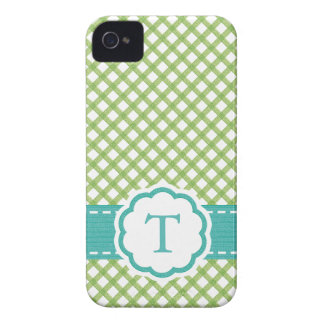 Monogrammed Lime Green and Aqua iPhone 4 Cases